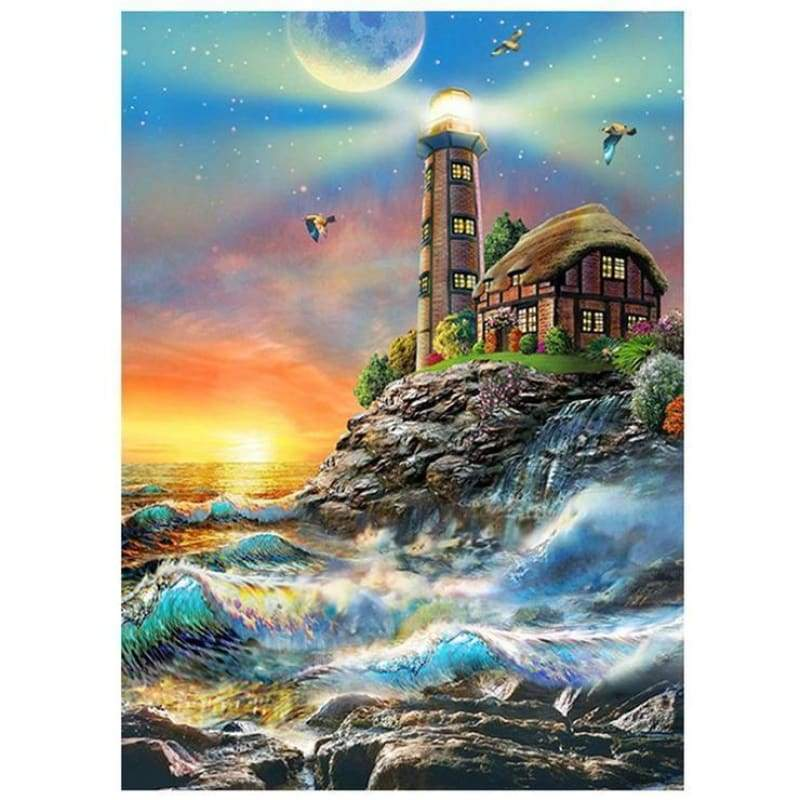 New Hot Sale Lighthouse Seaside Landscape Full Drill - 5D Diy Diamond Painting Kits VM09049 - NEEDLEWORK KITS