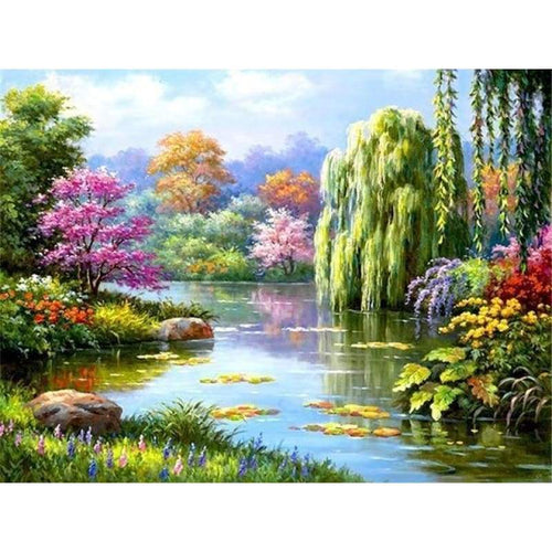 2019 New Hot Sale Nature Forest Lake Pattern Diy 5d Crystal Diamond Painting Kits VM20034 - 3