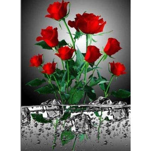 New Hot Sale Popular Red Flower Picture Diy Full Drill - 5D Diamond Painting Kits VM8029 - NEEDLEWORK KITS