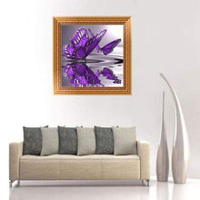 Load image into Gallery viewer, New Hot Sale Purple Butterfly Full Drill - 5D Cross Stitch Rhinestone Painting VM1205 - NEEDLEWORK KITS