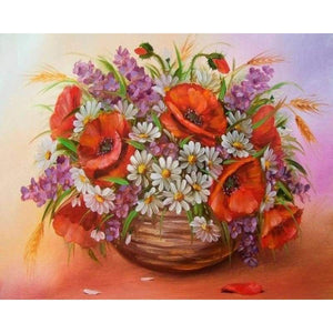 New Hot Sale Red And White Full Drill - 5D Diy Diamond Painting Flower Kits VM3607 - NEEDLEWORK KITS