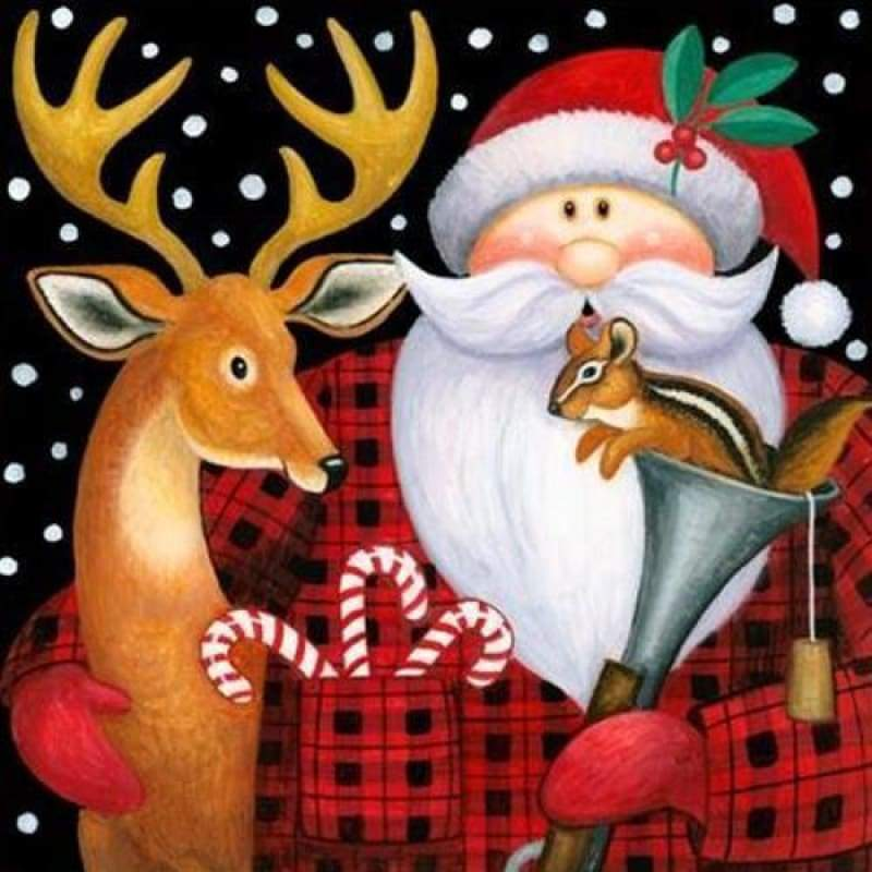 New Hot Sale Santa Claus Reindeer Full Drill - 5D Diy Diamond Painting Kits VM99124 - NEEDLEWORK KITS