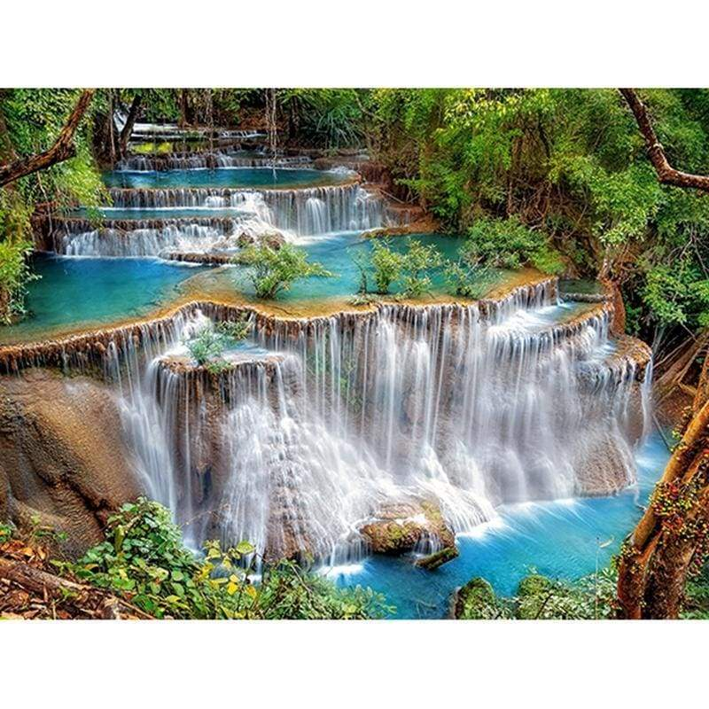 New Hot Sale Scenic Waterfall  Full Drill - 5D Diy Diamond Painting Kits VM8635 - NEEDLEWORK KITS