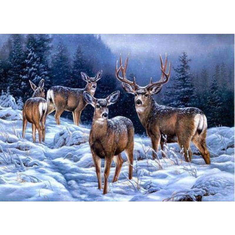 2019 New Hot Sale Wall Decor Forest Deer 5d Diy Diamond Cross Stitch Kits VM3675 - NEEDLEWORK KITS