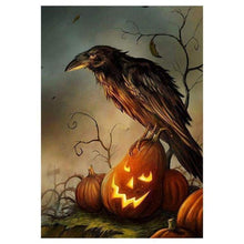 Load image into Gallery viewer, 2019 New Hot Sale Wall Decor Halloween Crow 5d Diy Rhinestone Stitch Kits VM40587 - NEEDLEWORK KITS
