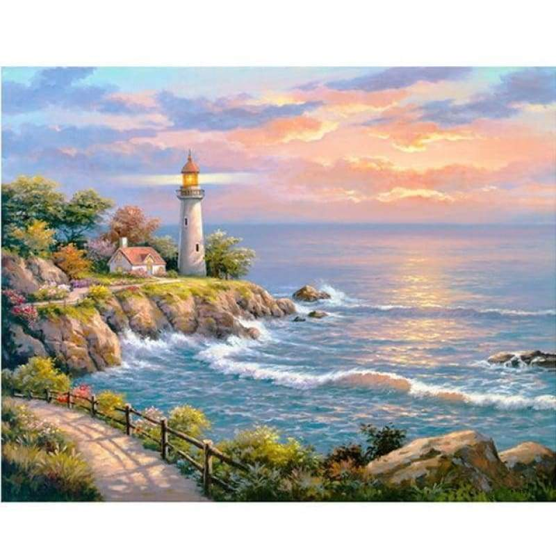New Hot Sale Wall Decor Landscape Lighthouses Full Drill - 5D Diy Diamond Painting Kits VM4094 - NEEDLEWORK KITS