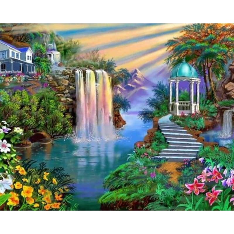New Hot Sale Wall Decor Landscape Waterfalls Nature Full Drill - 5D Diy Crystal Diamond Painting Kits VM4162 - NEEDLEWORK KITS
