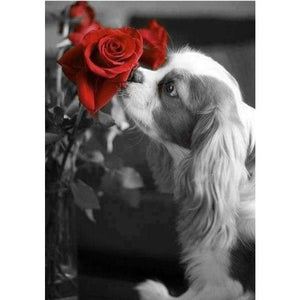 Modern Art Dog And Red Rose Full Drill - 5D Diy Diamond Painting Kits VM9222 - NEEDLEWORK KITS