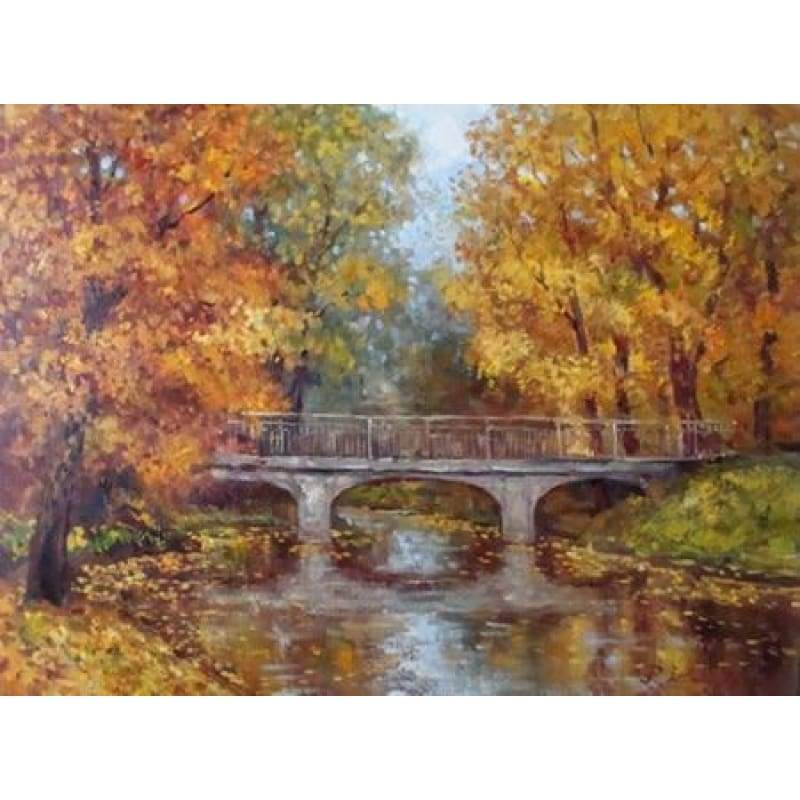 Oil Painting Style Autumn Forest Bridge Full Drill - 5D Diy Diamond Painting Kits VM9221 - NEEDLEWORK KITS