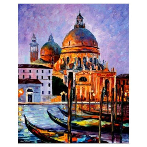 Oil Painting Style Castle Full Drill - 5D Diy Diamond Painting Kits QB5347 - NEEDLEWORK KITS