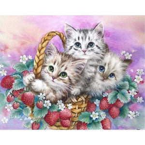 Oil Painting Style Cat In Basket Full Drill - 5D DIY Diamond Painting Cross Stitch VM4061 - NEEDLEWORK KITS