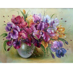 Oil Painting Style Flowers Full Drill - 5D Fashion Diy Diamond Paint VM1403 - NEEDLEWORK KITS