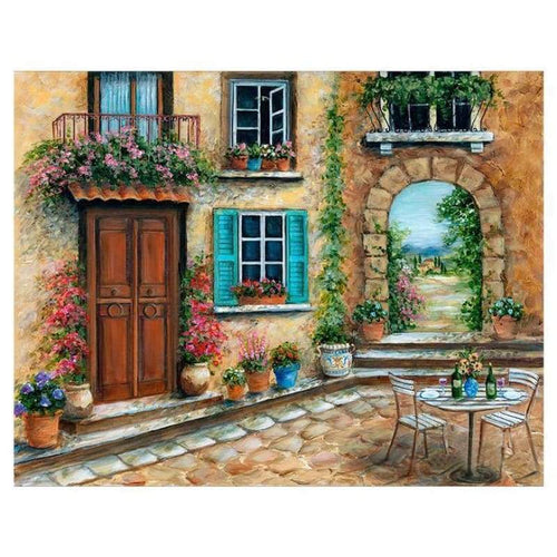 Oil Painting Style Garden Door Diy Full Drill - 5D Diamond Painting Kits QB53511 - NEEDLEWORK KITS