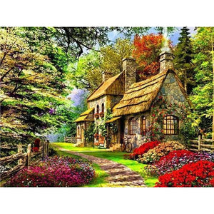 Oil Painting Style Handmade Landscapes Village Full Drill - 5D Diamond Art VM1094 - NEEDLEWORK KITS