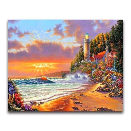 2019 Oil Painting Style Landscape Lighthouse 5d Diy Diamond Painting Kits VM20229 - 3