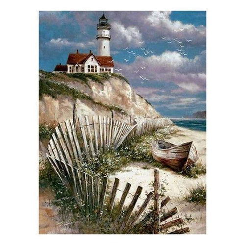 2019 Oil Painting Style Landscape Lighthouse Diy 5d Diamond Painting Kits QB5404 - 4
