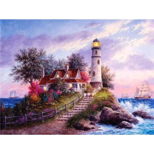 2019 Oil Painting Style Landscape Lighthouse Diy 5d Diamond Painting Kits VM38205 - 4