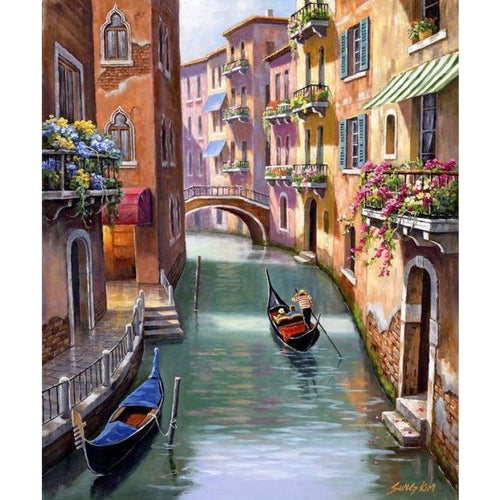 2019 Oil Painting Style Landscape Street 5d Diy Diamond Painting Kits VM8126 - 3