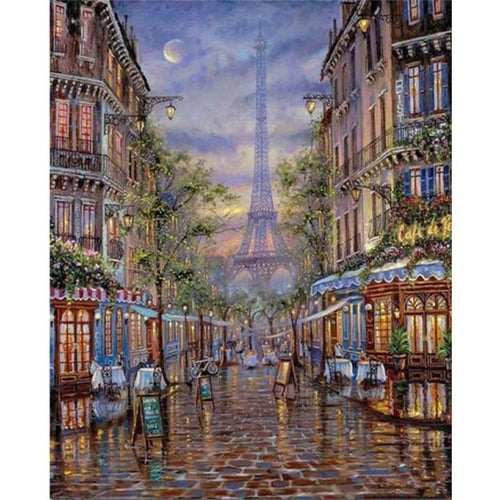 2019 Oil Painting Style Landscape Street Eiffel Tower 5d Diy Diamond Painting Kits VM59466 - 3