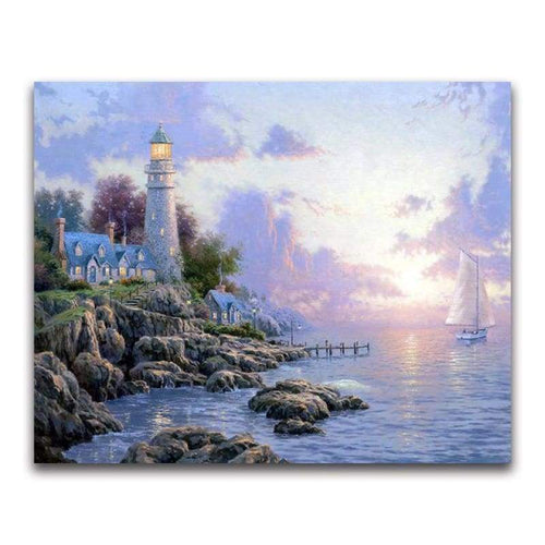 2019 Oil Painting Style Lighthouse Pattern 5d Diy Diamond Painting Kits VM20227 - 2