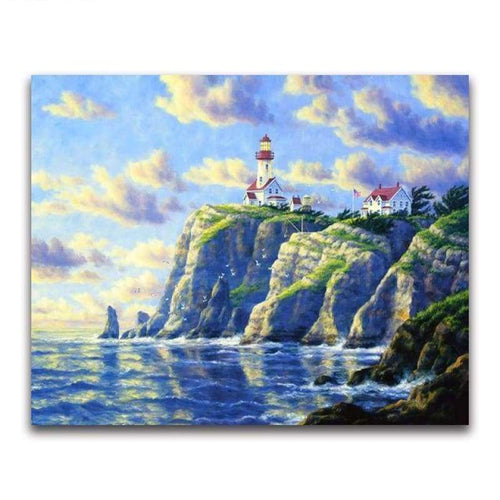 2019 Oil Painting Style Lighthouse Pattern 5d Diy Diamond Painting Kits VM20228 - 3
