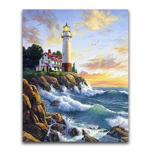 2019 Oil Painting Style Lighthouse Pattern Diy 5d Diamond Painting Kits VM20211 - 4