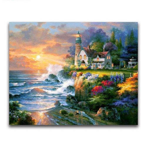 2019 Oil Painting Style Lighthouse Pattern Diy 5d Diamond Painting Kits VM20215 - 2