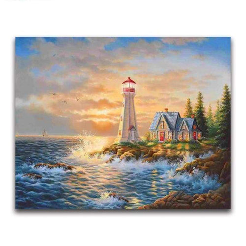 2019 Oil Painting Style Lighthouse Pattern Diy 5d Diamond Painting Kits VM20217 - 2