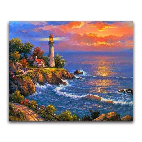 2019 Oil Painting Style Lighthouse Pattern Diy 5d Diamond Painting Kits VM20223 - 2