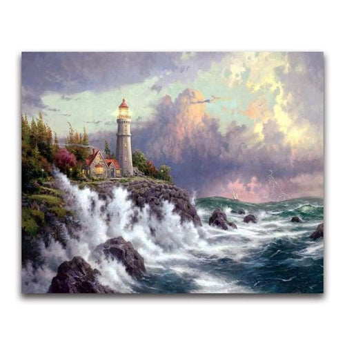 2019 Oil Painting Style Lighthouse Pattern Wall Decor Diy 5d Diamond Painting Kits VM20213 - 2