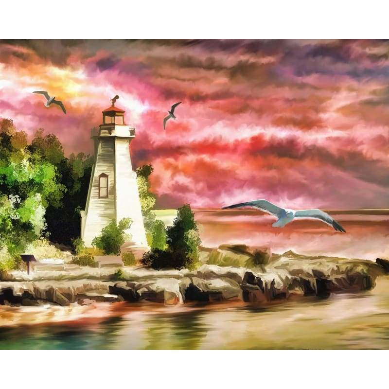 Oil Painting Style Lighthouse Scenery Diy Full Drill - 5D Diamond Painting Kits VM8028 - NEEDLEWORK KITS