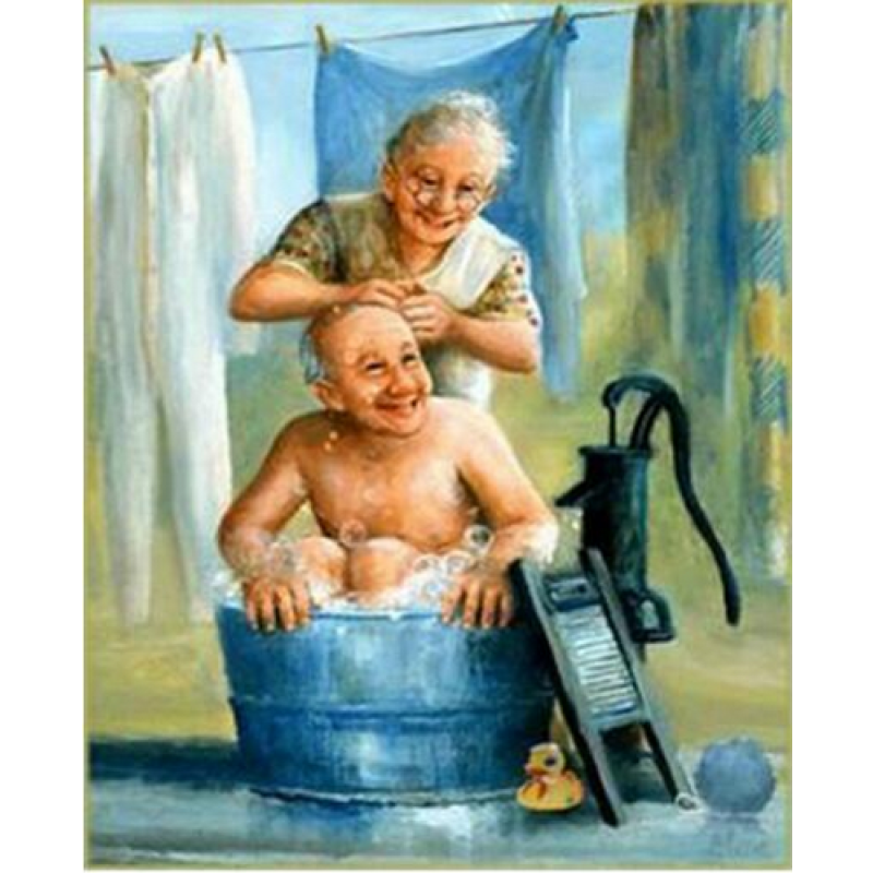 Oil Painting Style Old Couple Diy Full Drill - 5D Diamond Painting Cross Stitch Kits VM3403 - NEEDLEWORK KITS