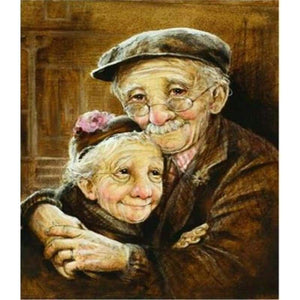 Oil Painting Style Old Couple Diy Full Drill - 5D Diamond Painting Cross Stitch Kits VM3406 - NEEDLEWORK KITS