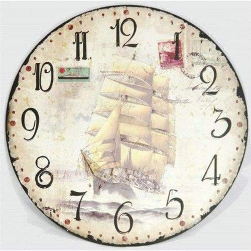 2019 Retro Sailing Clock 5D DIY Embroidery Cross Stitch Diamond Painting Kits NB0158