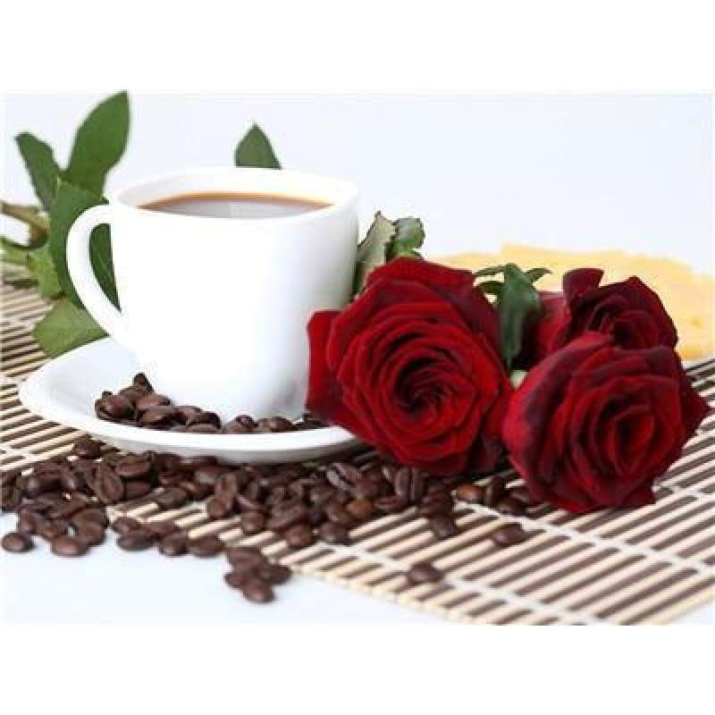 Special Coffee Cup And Flowers Diy Full Drill - 5D Bling Bling Art Diamond Painting Kits VM03012 - NEEDLEWORK KITS