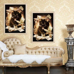 Special Cool Black Cat Dollar Full Drill - 5D Crystal Diamond Painting Kits VM0016 - NEEDLEWORK KITS