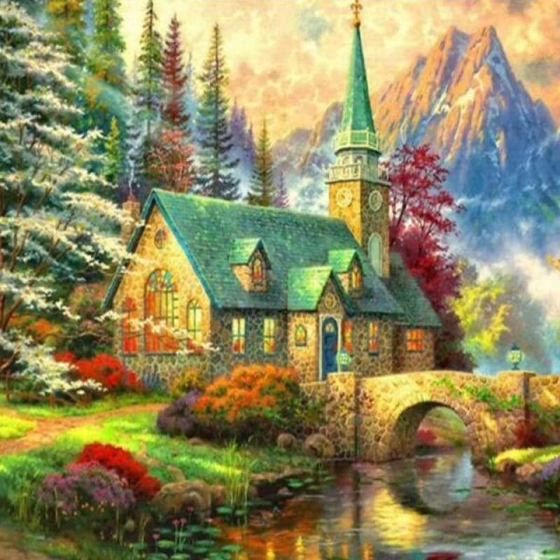 Special Cottage Villa Mountain Full Drill - 5D Diy Diamond Painting Kits VM9122 - NEEDLEWORK KITS