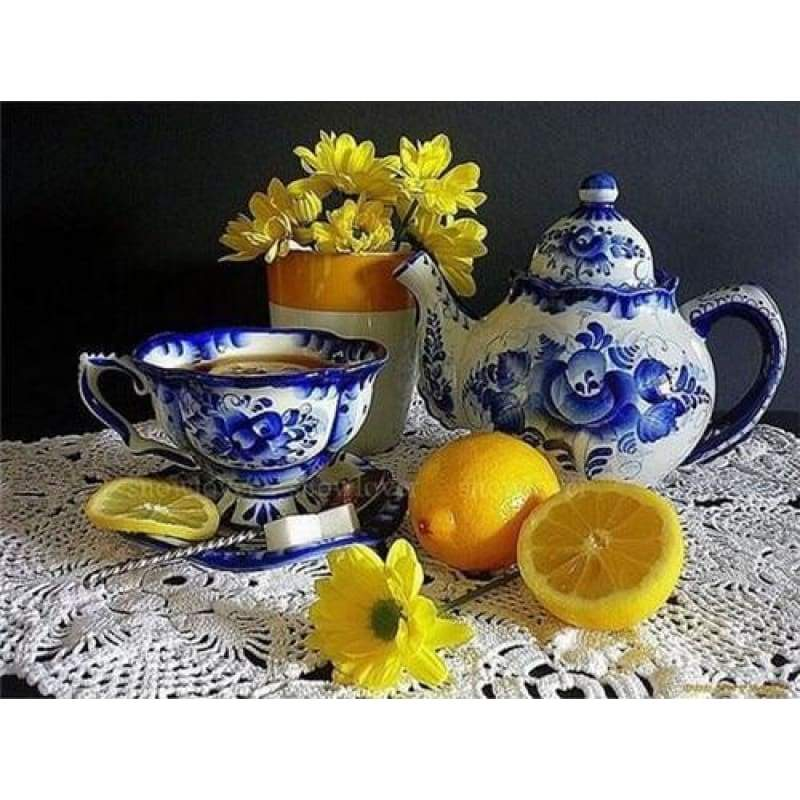 Full Drill - 5D DIY Diamond Painting Kits Special Yellow Flowers And Chinese Tea Cap - NEEDLEWORK KITS