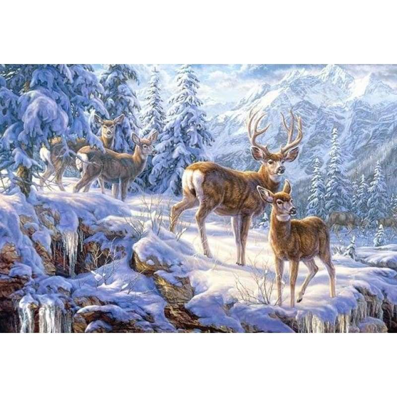 Full Drill - 5D DIY Diamond Painting Kits Snow Deer Family - NEEDLEWORK KITS