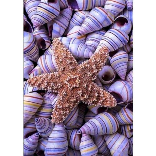 5D DIY Diamond Painting Kits Summer Beach Starfish Shell Pebble - 4