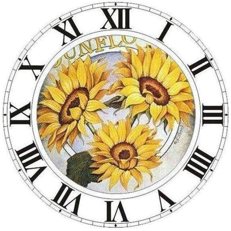 Full Drill - 5D DIY Diamond Painting Kits Special Sunflower Clock - NEEDLEWORK KITS