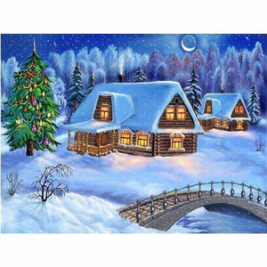 Full Drill - 5D DIY Diamond Painting Kits Snowy Cottage In Winter