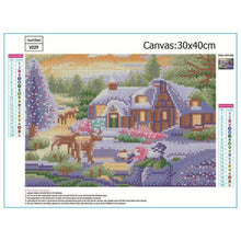 Load image into Gallery viewer, Full Drill - 5D DIY Diamond Painting Kits Snowy Cottage In Winter - NEEDLEWORK KITS