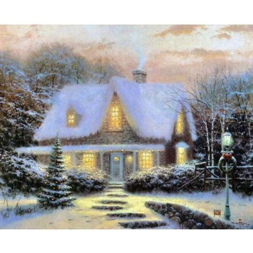 5D DIY Diamond Painting Kits Snowy Cottage In Winter - 3