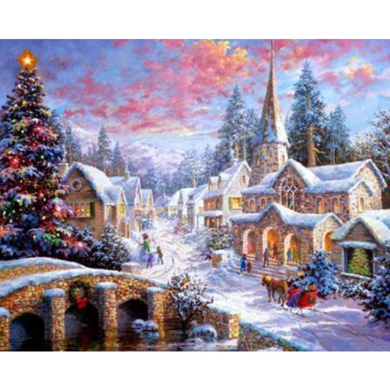 5D DIY Diamond Painting Kits Cartoon Snowy Countryside In Winter - 3