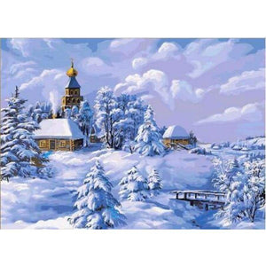 Full Drill - 5D DIY Diamond Painting Kits Snowy Village In Winter - NEEDLEWORK KITS