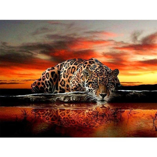 5D DIY Diamond Painting Kits Sunset And Lakeside Leopard - 3