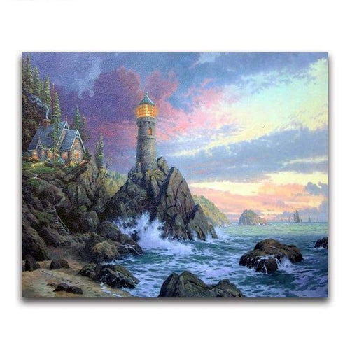 5D DIY Diamond Painting Kits Watercolor Lighthouse Pattern - 2