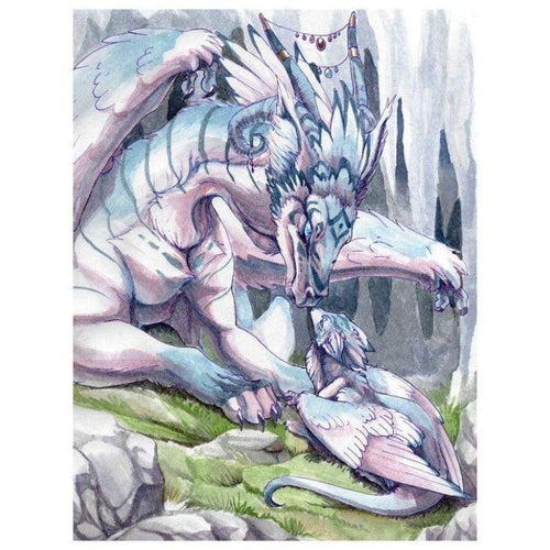 5D DIY Diamond Painting Kits White Abstract Dragon - Z5