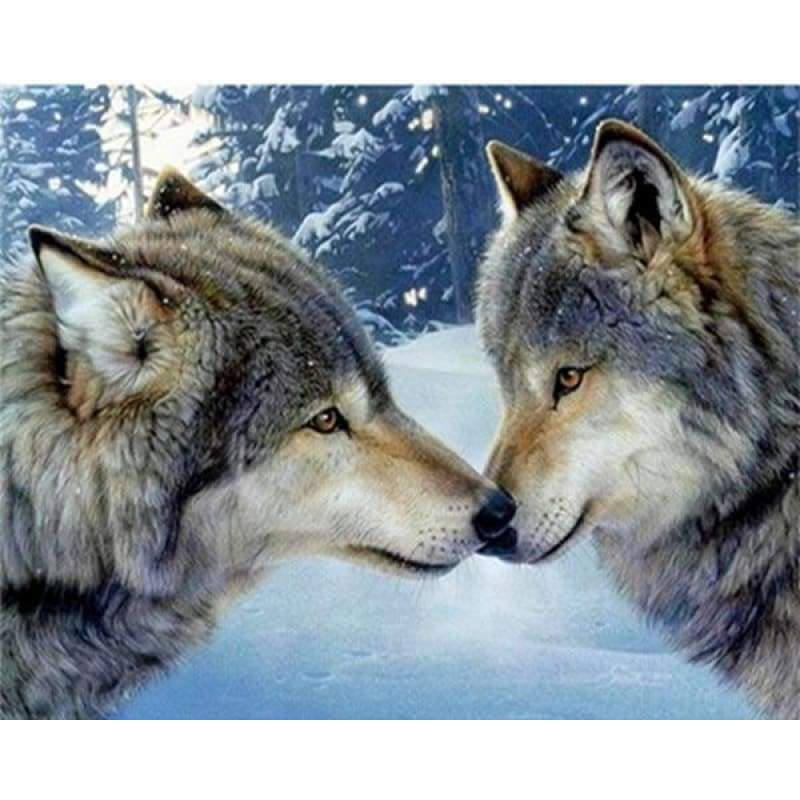 Full Drill - 5D DIY Diamond Painting Kits Winter Animal Wolfs Love - NEEDLEWORK KITS